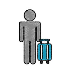 tourist silhouette with suitcase vector image