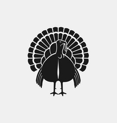 turkey male silhouette front view farm animal vector image