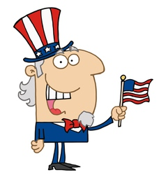 Uncle Sam Smiling And Waving A Flag vector image