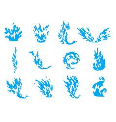water splash blue water waves set wavy liquid vector image