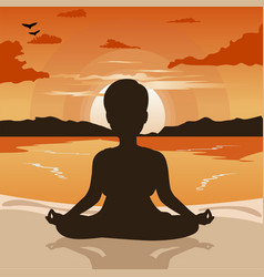 Woman silhouette doing yoga on beach at sunset vector
