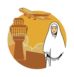Women hajj and airport background vector