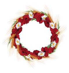 Wreath of poppies daisies and vector