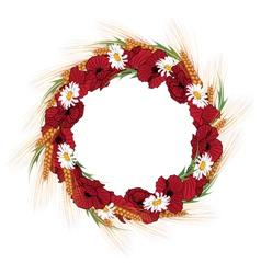 Wreath of poppies daisies vector