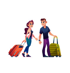 young couple with luggage bags traveling tourism vector image
