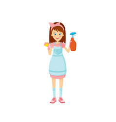 Young woman housewife engaged cleaning in room vector