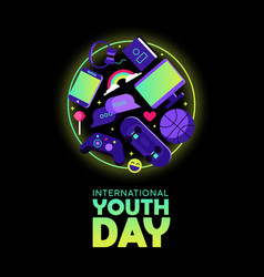 Youth day card of fun teen hobby icons vector