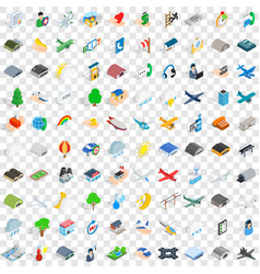 100 airport icons set isometric 3d style vector