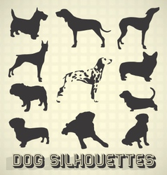 Collection of Dog Silhouettes vector image vector image