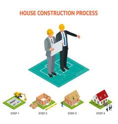 isometric set stage-by-stage construction of a vector image vector image