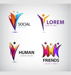 set of human logos men group leader vector image