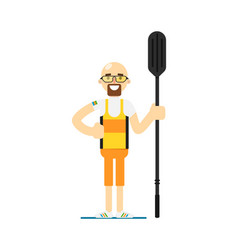 smiling canoe rowing sportsman with paddle vector image