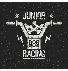 Emblem motorcycle racing junior vector image