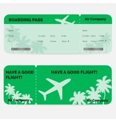 Airline boarding pass Green ticket isolated on vector image