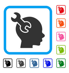 brain service wrench framed icon vector image vector image