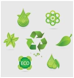 eco symbols and emblems set green color vector image vector image
