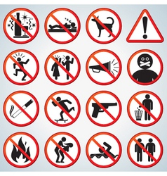 funny forbidden icons set vector image vector image