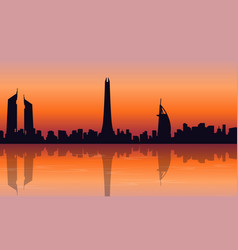 Silhouette of dubai skyline at sunset landscape vector