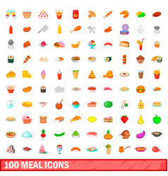100 meal icons set cartoon style vector image