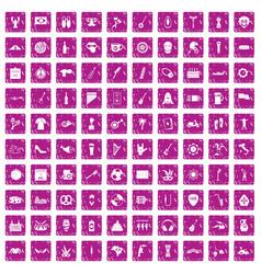 100 street festival icons set grunge pink vector