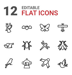 12 wing icons vector