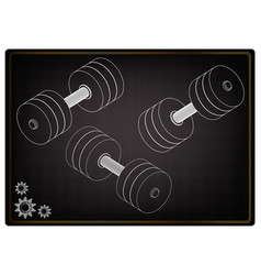 3d model of dumbbells on a black vector image