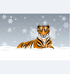 A resting red-haired tiger vector