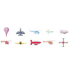 airship icon set cartoon style vector image