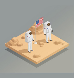 American astronauts isometric composition vector