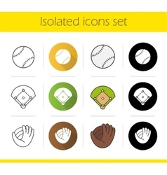 Baseball equipment icons vector image