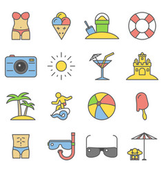 Beach thin line flat icons summer signs vector