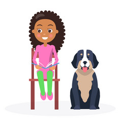 black curly girl sitting with classbook and pet vector image