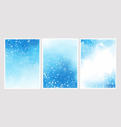 Blue watercolor with snow falling background for vector
