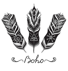 Boho feather vector image