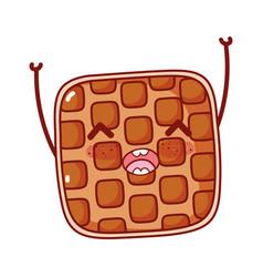 Breakfast cute waffle happy kawaii cartoon vector