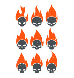 Burning skulls icons vector
