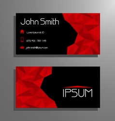 Business card polygon style - red and black vector image