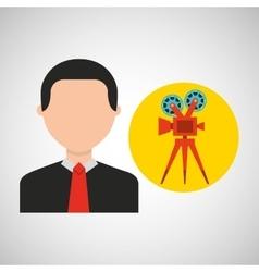 Businessman movie film icons vector