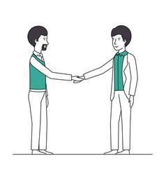 businessmen shaking hands characters vector image