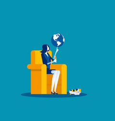 Businesswoman and globe at fingertips concept vector
