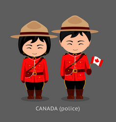 Canadians in national dress with a flag vector