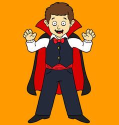 cartoon boy in vampire costume vector image