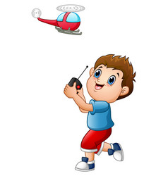 cartoon boy playing with quadcopter vector image