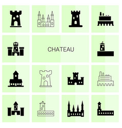 chateau icons vector image