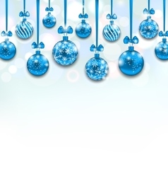 Christmas Blue Glassy Balls with Bow Ribbon vector image