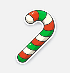 christmas candy cane with red and green stripes vector image