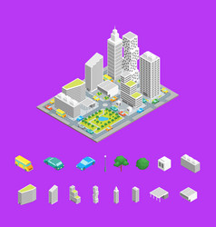 city streets isometric view vector image