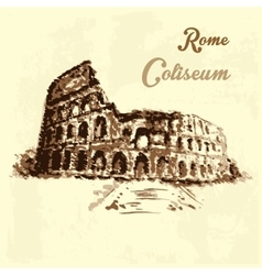 Colosseum hand drawing watercolor style vector
