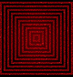 Concentric square red mosaic sequin glitter vector