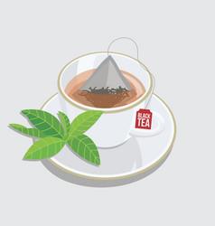 Cup black tea - triangle tea bag with leaf vector